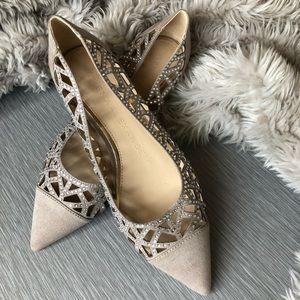 Shoes - Nude Sparkle Flats Size 8